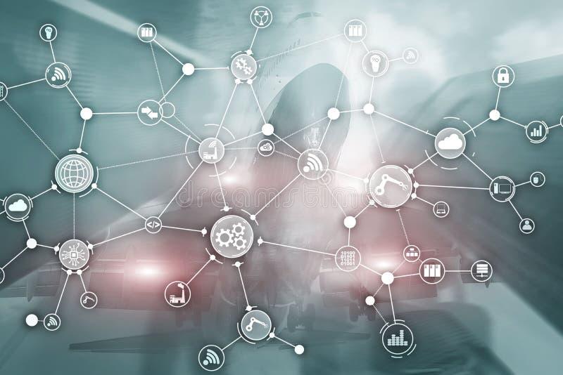 De organisatiestructuur technologie industri?le van het bedrijfsproceswerkschema op het virtuele scherm Slim de industrieconcept  royalty-vrije stock fotografie