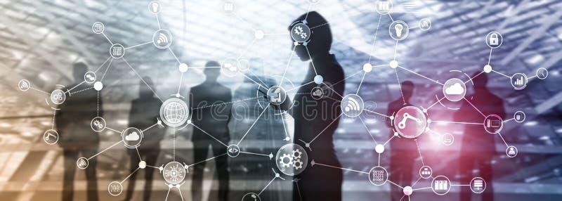 De organisatiestructuur technologie industri?le van het bedrijfsproceswerkschema op het virtuele scherm Slimme de industrieconcep stock illustratie