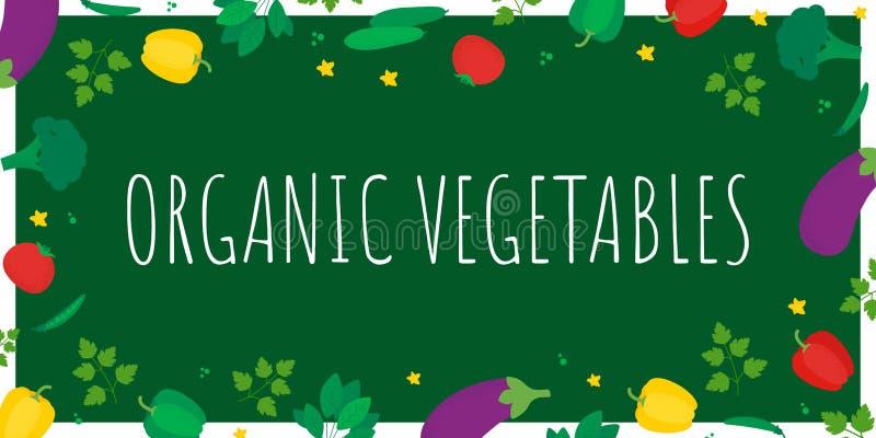De organische affiche van het groentenontwerp met groenten royalty-vrije illustratie