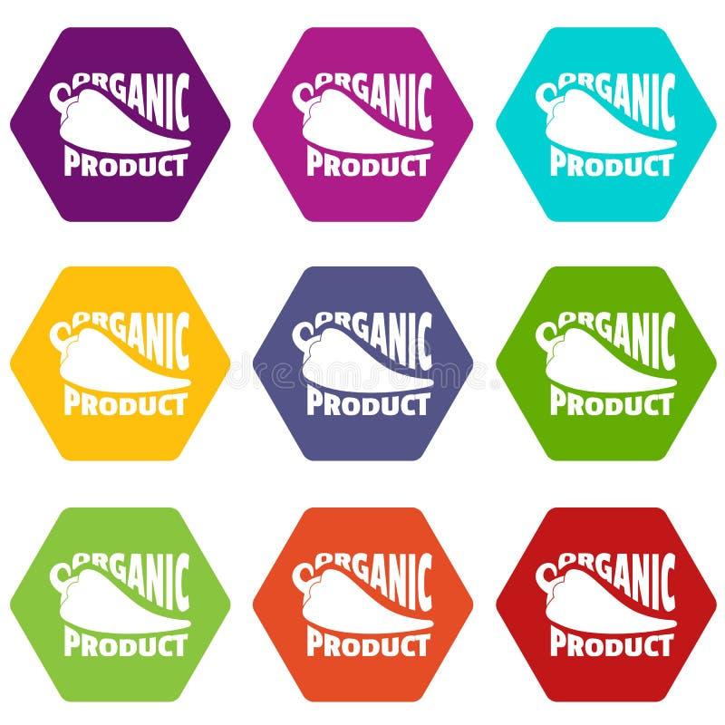 De organische bioproductpictogrammen plaatsen vector 9 stock illustratie