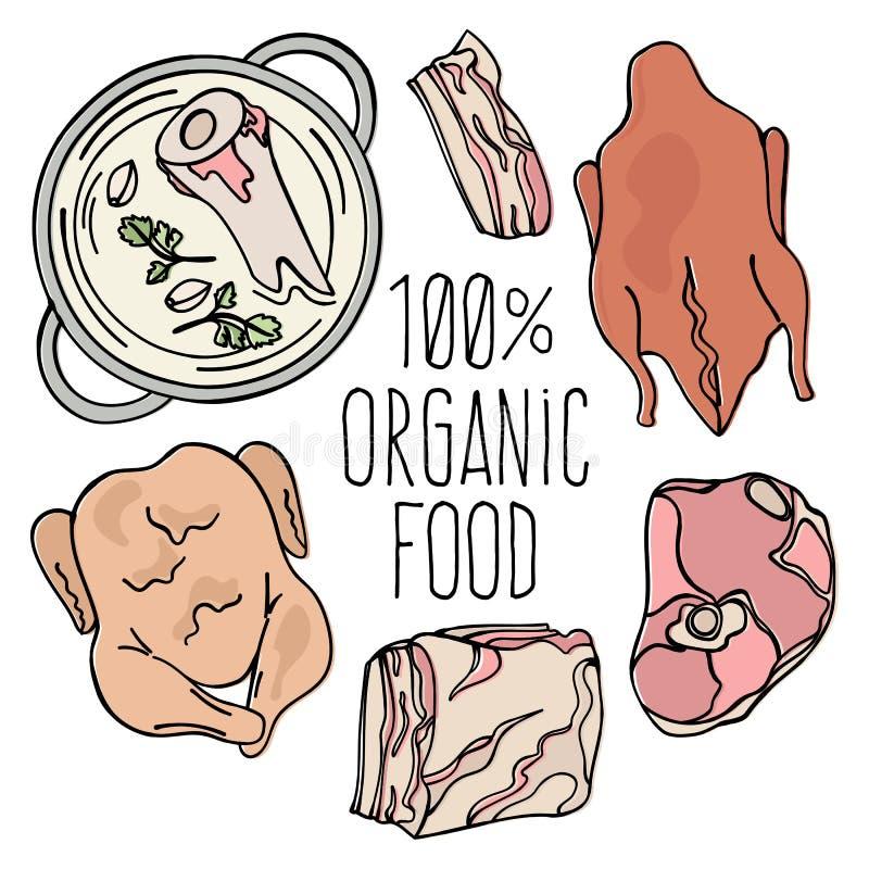 De ORGANISCHE Reeks van de de Natuurvoeding Vectorillustratie van de VLEEScarnivoor royalty-vrije illustratie
