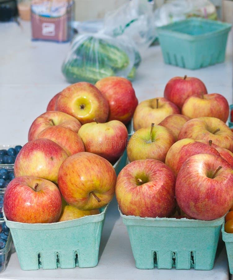 De organische, rijpe appelen van Washington en bosbessen bij een uit markt van deurlandbouwers royalty-vrije stock afbeeldingen
