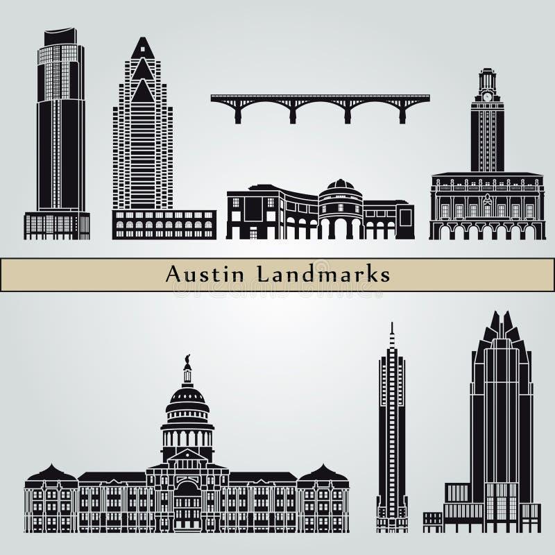 De oriëntatiepunten en de monumenten van Austin royalty-vrije illustratie