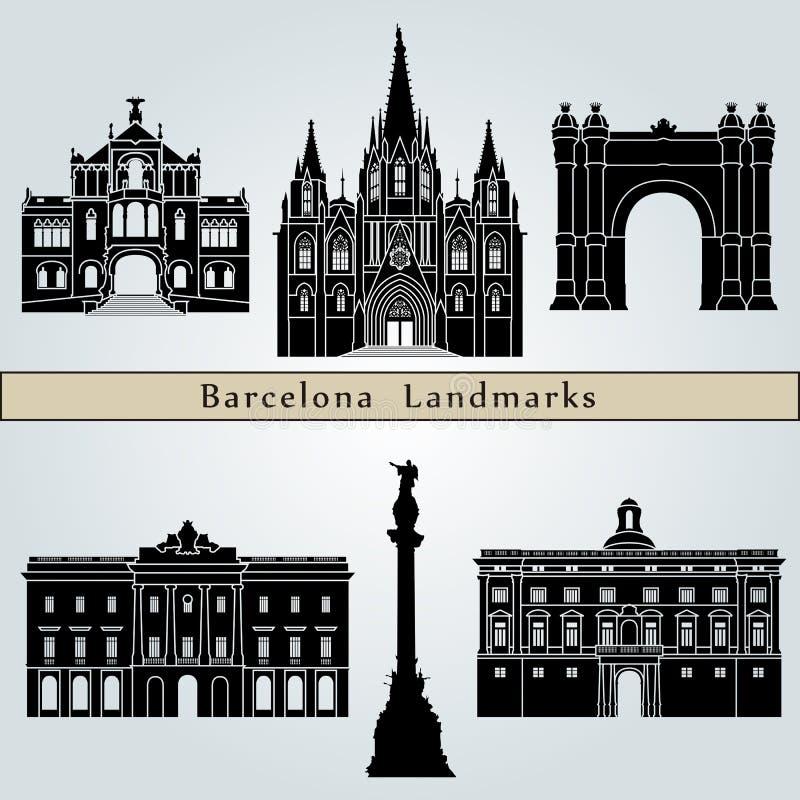 De oriëntatiepunten en de monumenten van Barcelona stock illustratie