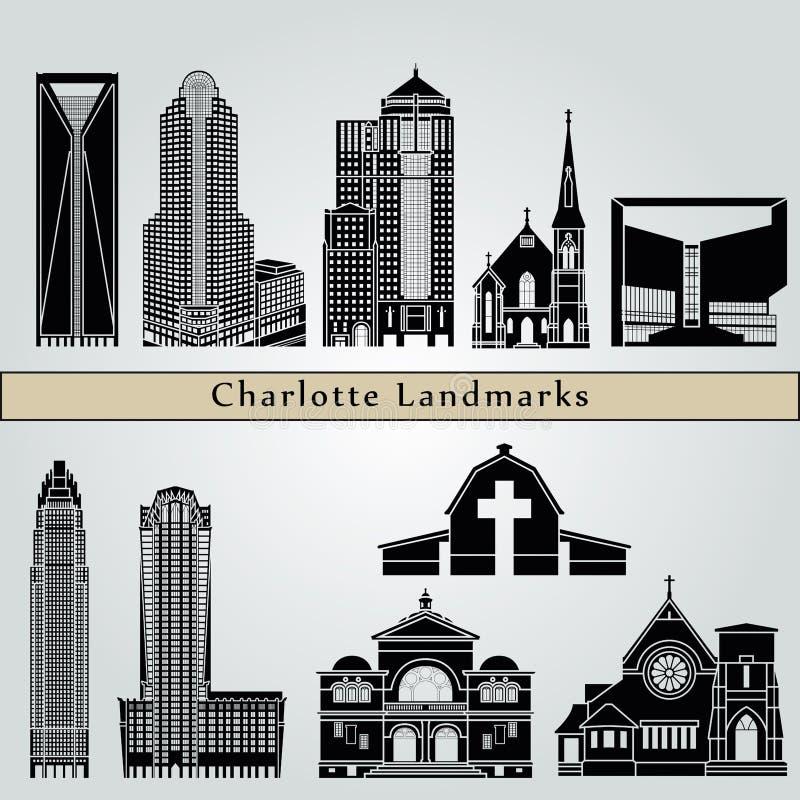 De oriëntatiepunten en de monumenten van Charlotte stock illustratie