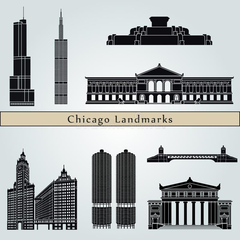 De oriëntatiepunten en de monumenten van Chicago vector illustratie
