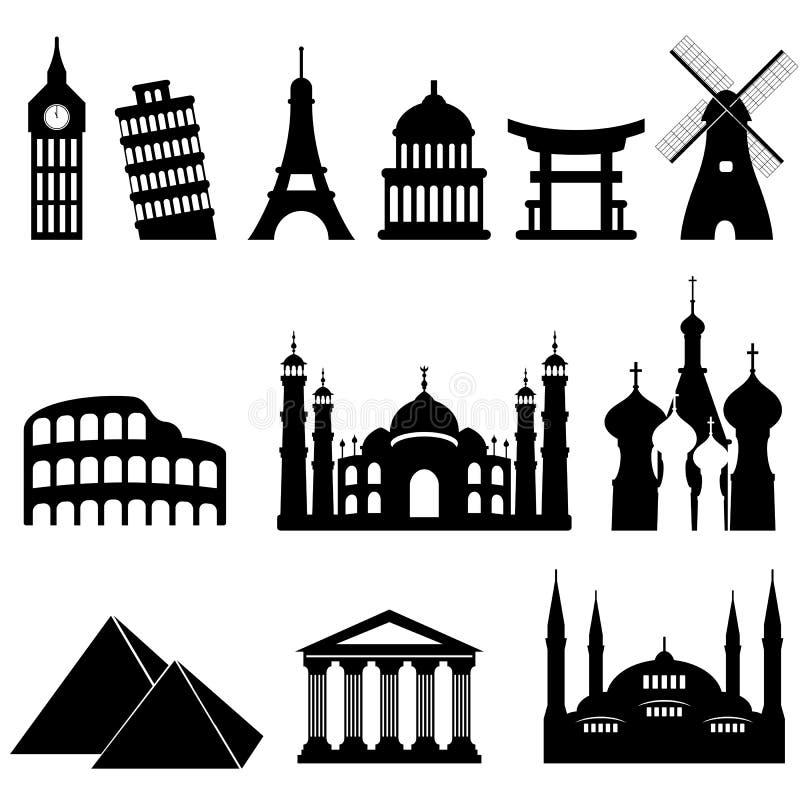 De oriëntatiepunten en de monumenten van de reis vector illustratie