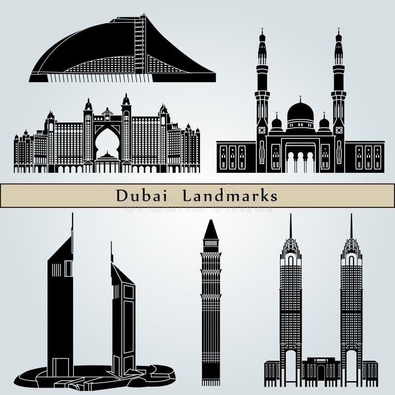 De oriëntatiepunten en de monumenten van Doubai stock illustratie