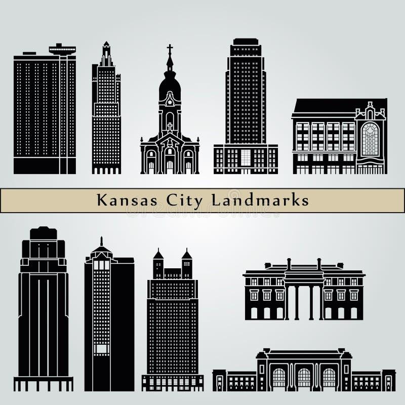 De oriëntatiepunten en de monumenten van Kansas City stock illustratie