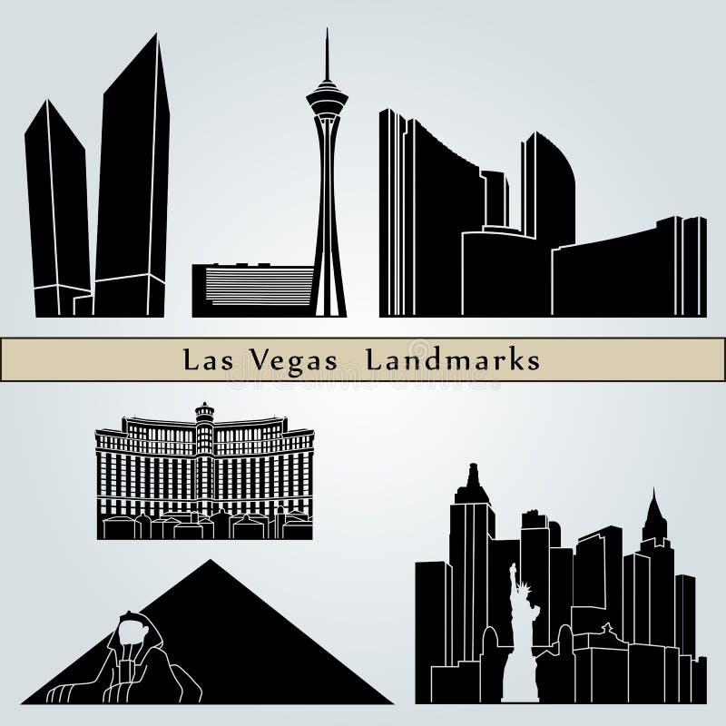 De oriëntatiepunten en de monumenten van Las Vegas stock illustratie
