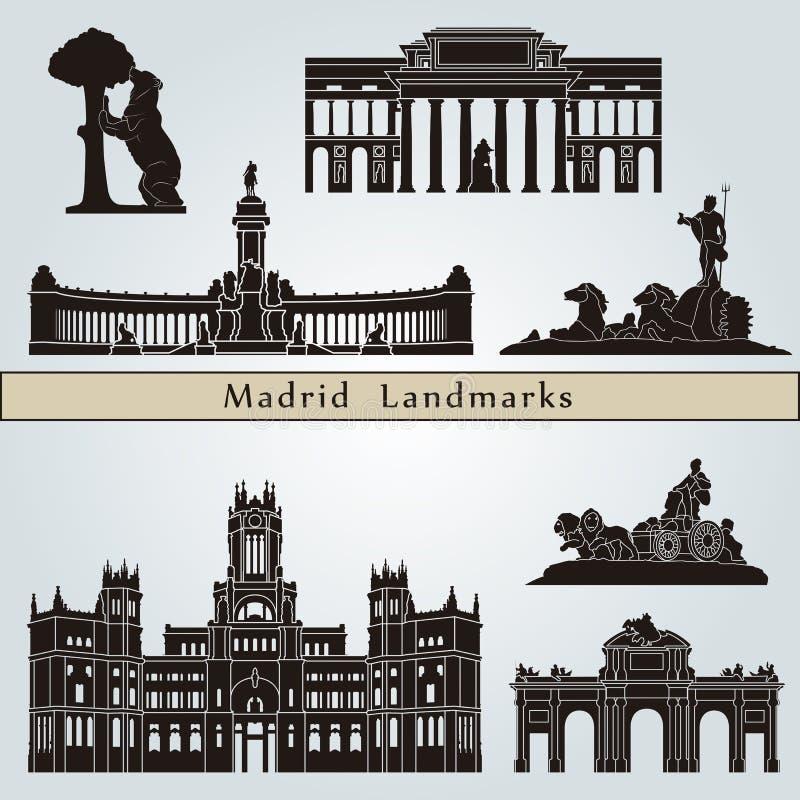 De oriëntatiepunten en de monumenten van Madrid royalty-vrije illustratie