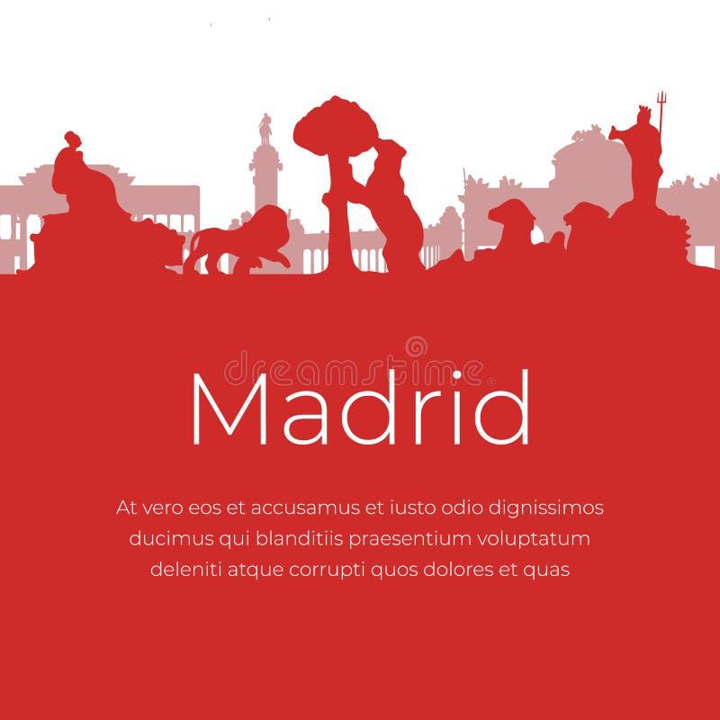 De oriëntatiepunten en de monumenten van Madrid Spanje royalty-vrije illustratie