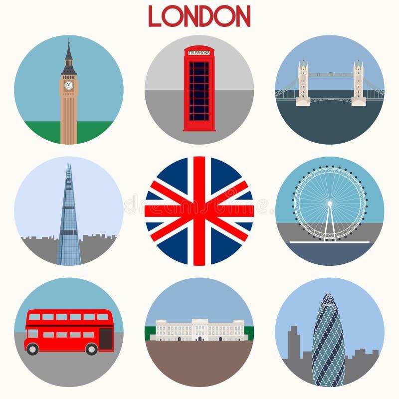 De oriëntatiepunten & de symbolen van Londen - vector vector illustratie