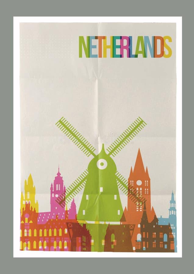 De oriëntatiepunten uitstekende document van reisnederland affiche stock illustratie