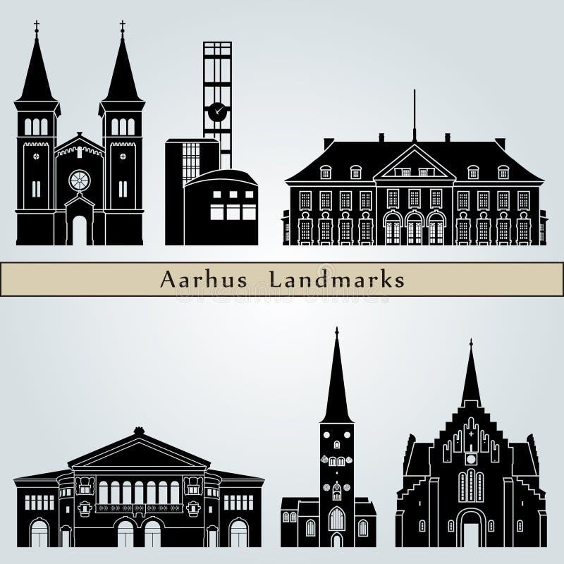 De Oriëntatiepunten van Aarhus vector illustratie