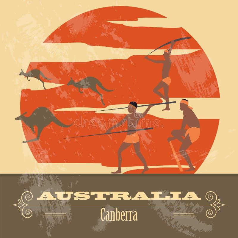 De oriëntatiepunten van Australië Retro gestileerd beeld