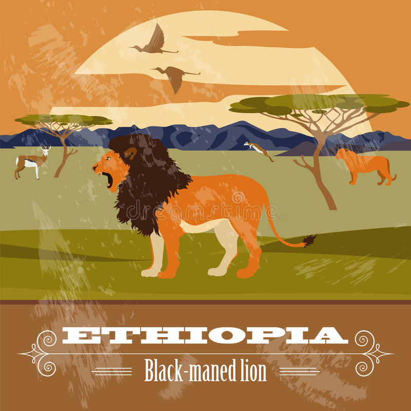De oriëntatiepunten van Ethiopië Retro gestileerd beeld royalty-vrije illustratie