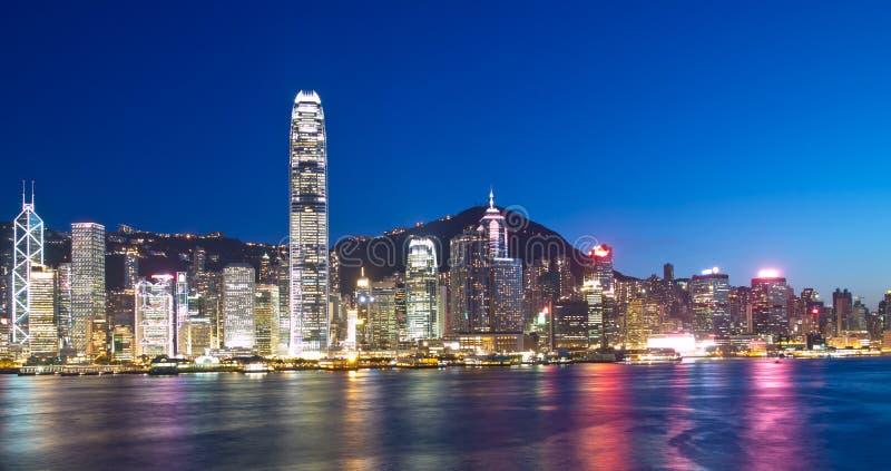 De Oriëntatiepunten Van Hongkong Bij Nacht Royalty-vrije Stock Fotografie