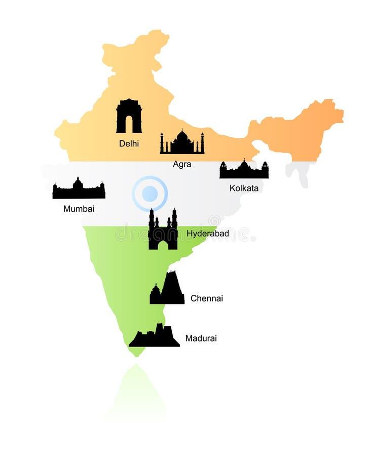 De oriëntatiepunten van India op kaartvector stock illustratie