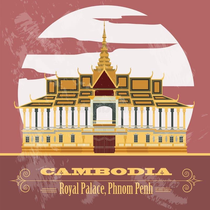 De oriëntatiepunten van Kambodja Royal Palace, Phnom Penh Retro gestileerd beeld royalty-vrije illustratie