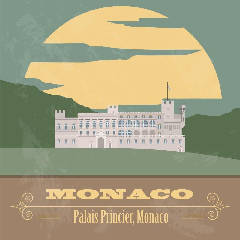 De oriëntatiepunten van Monaco Retro gestileerd beeld stock illustratie
