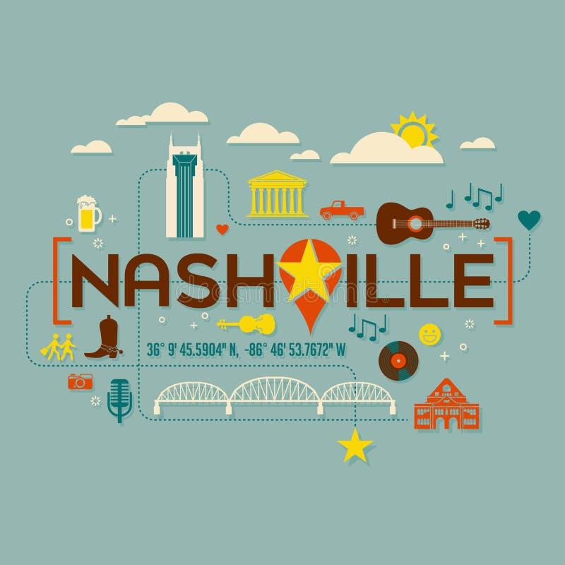 De oriëntatiepunten van Nashville, aantrekkelijkheden en tekstontwerp royalty-vrije illustratie