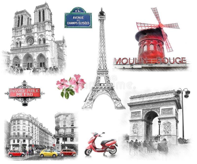 De oriëntatiepunten van Parijs De illustratie trekt, beschrijft stijl stock illustratie