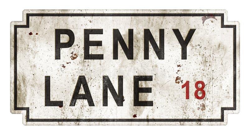 De Oriëntatiepunten van Penny Lane Street Sign Grunge Londen Engeland royalty-vrije stock foto's