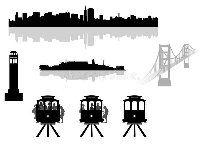 De oriëntatiepunten van San Francisco royalty-vrije illustratie