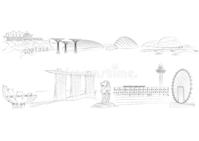 De Oriëntatiepunten van Singapore vector illustratie