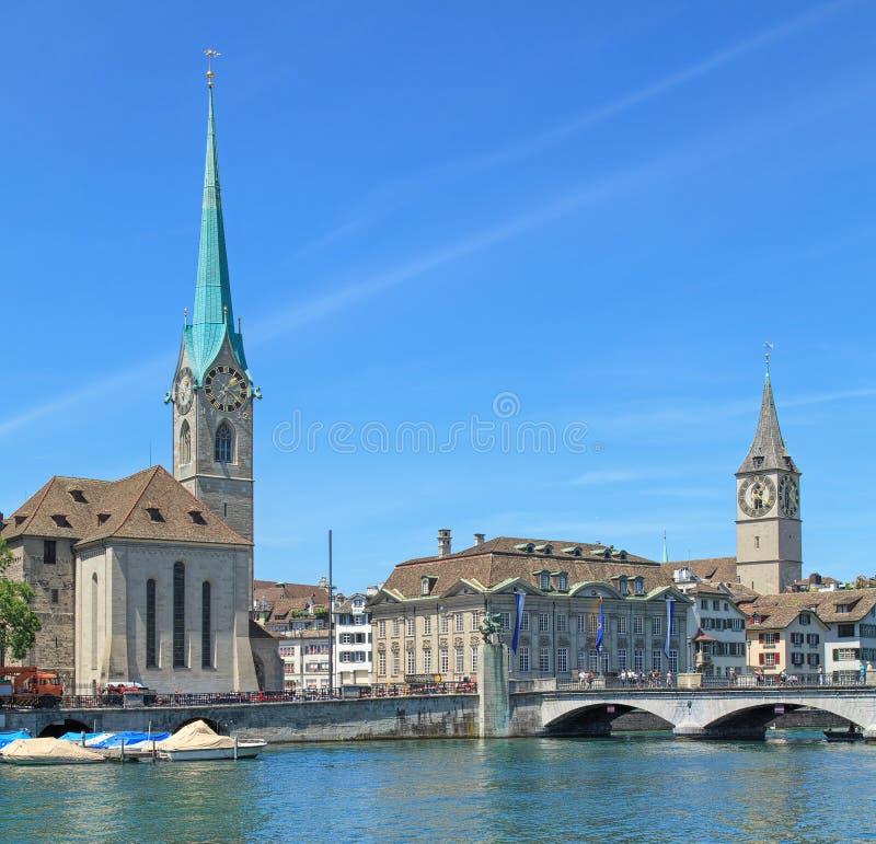 De oriëntatiepunten van Zürich stock fotografie