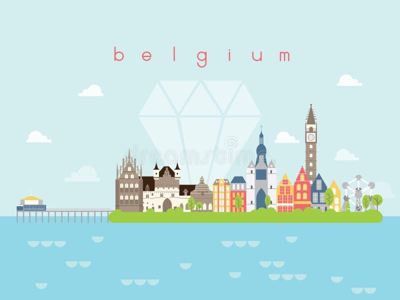De Oriëntatiepuntenreis van België en Reisvector stock illustratie
