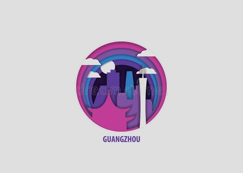 De origamidocument van de Guangzhoustad vector geïsoleerde illustratie stock illustratie