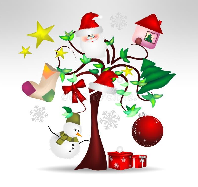 De originele decoratie van de Kerstboom en aardig royalty-vrije illustratie