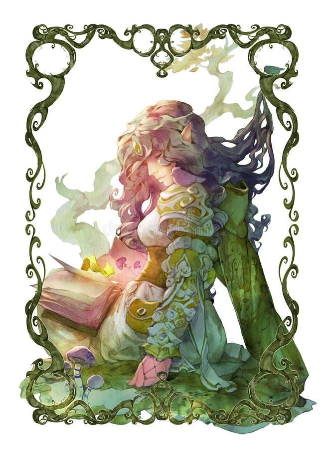 De originele illustratie van het fantasieportret van een mooi etherisch vrouwelijk elf stock illustratie
