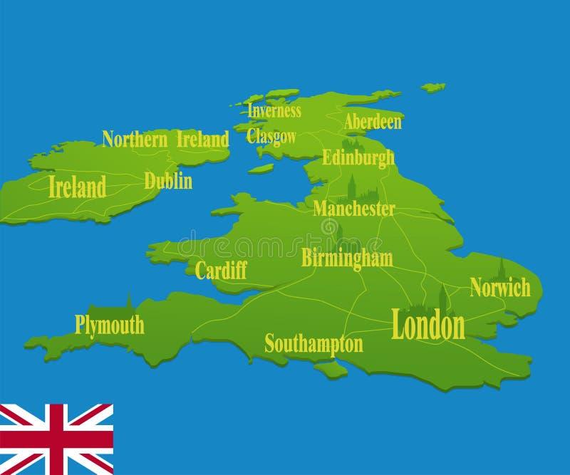 De originele kaart van Engeland royalty-vrije illustratie