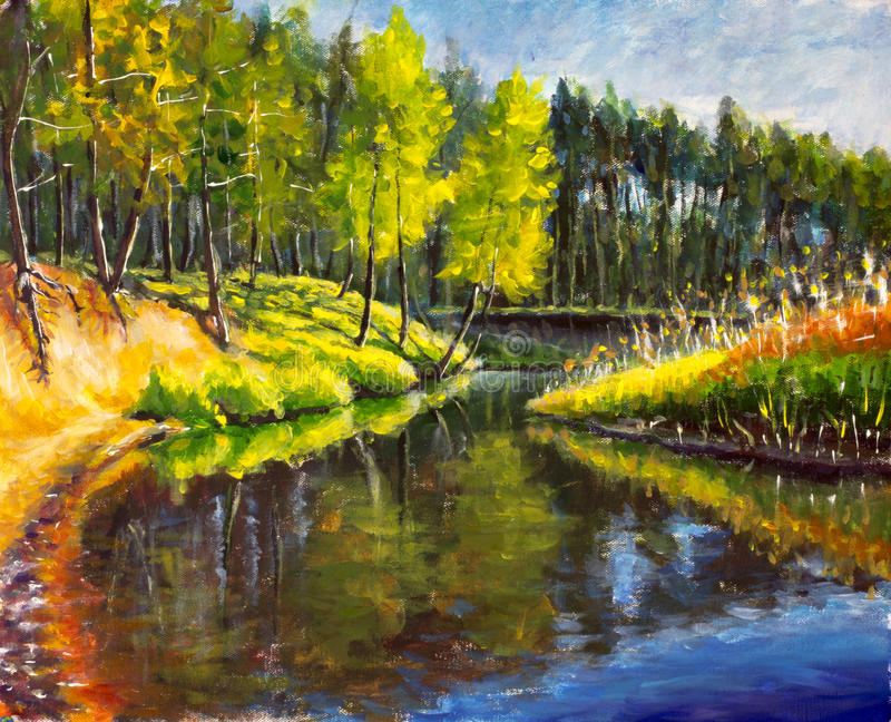 De originele olieverfschilderij Heldergroene bomen worden weerspiegeld in overzees Landschap royalty-vrije illustratie