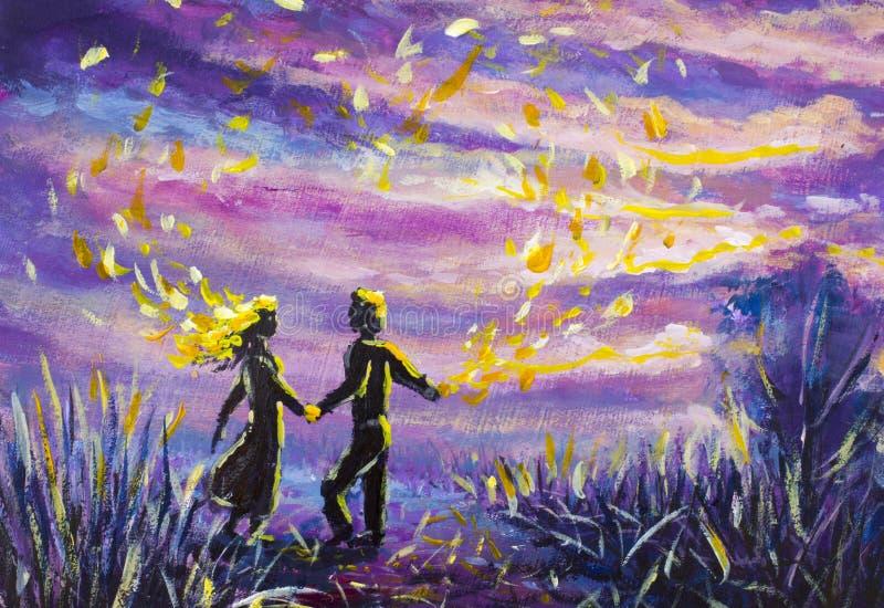 De originele Schilderende abstracte man en de vrouw dansen op zonsondergang Nacht, aard, landschap, purpere sterrige Romaanse hem royalty-vrije illustratie