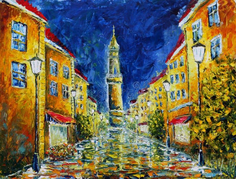 De originele straat van de olieverfschilderij Eenzame regenachtige nacht royalty-vrije stock foto