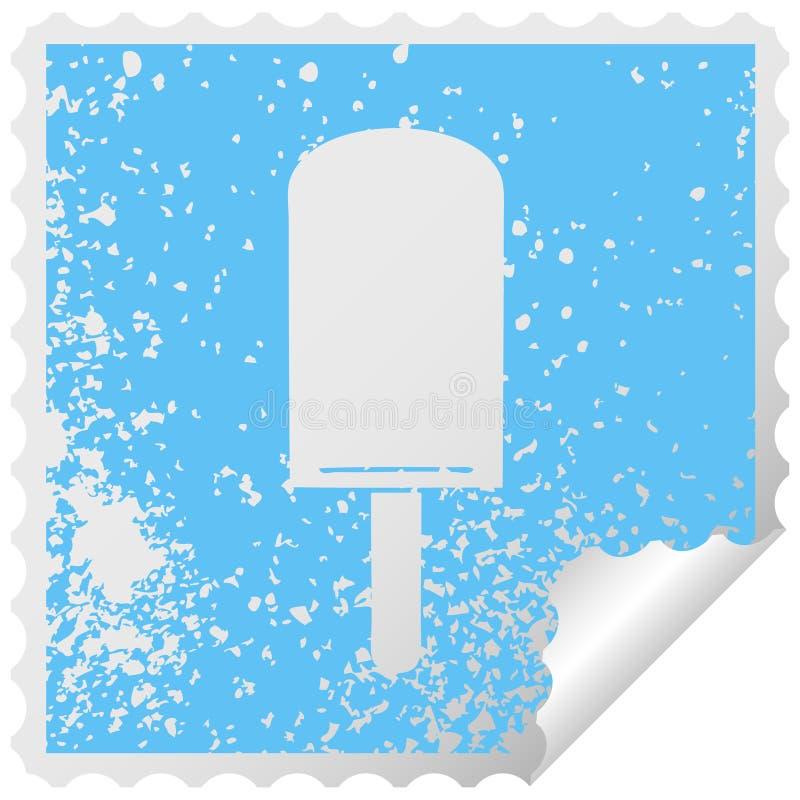 de originele verontruste vierkante lollie van het het symbool oranje ijs van de schilsticker stock illustratie