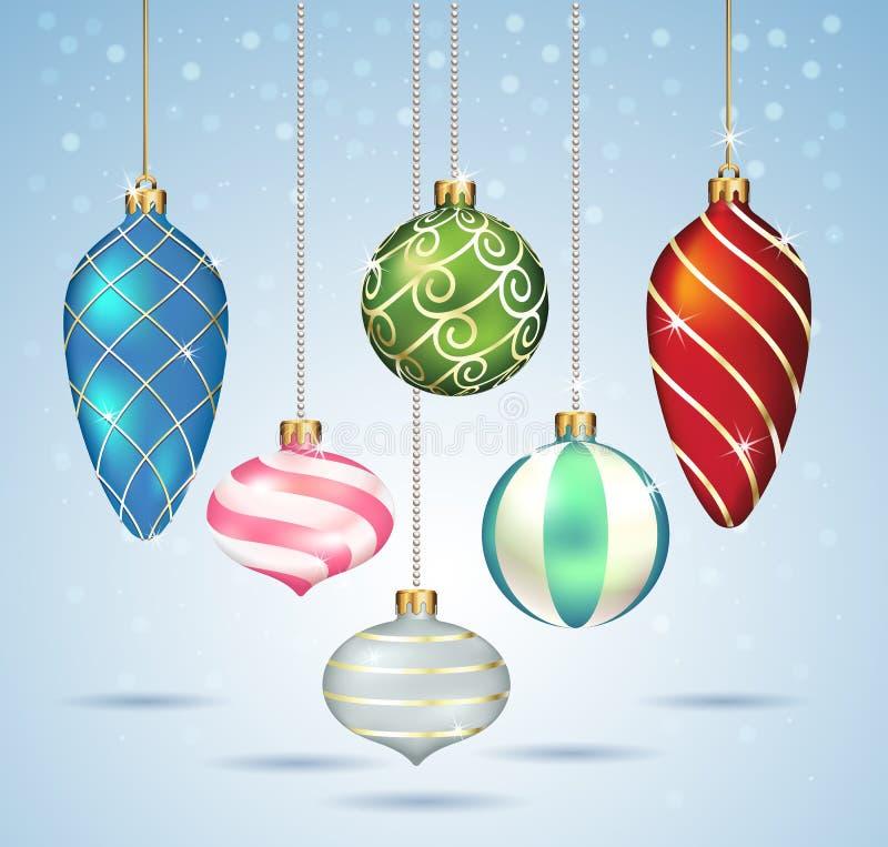 De ornamenten die van Kerstmisballen op gouden draad hangen royalty-vrije illustratie