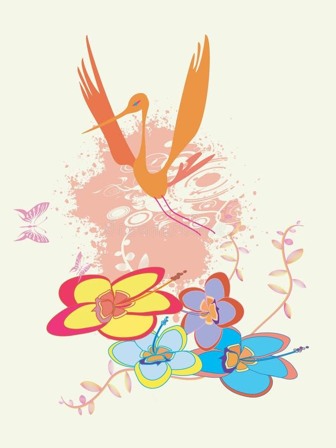 De ornamenten kleuren bloemen en bi stock illustratie