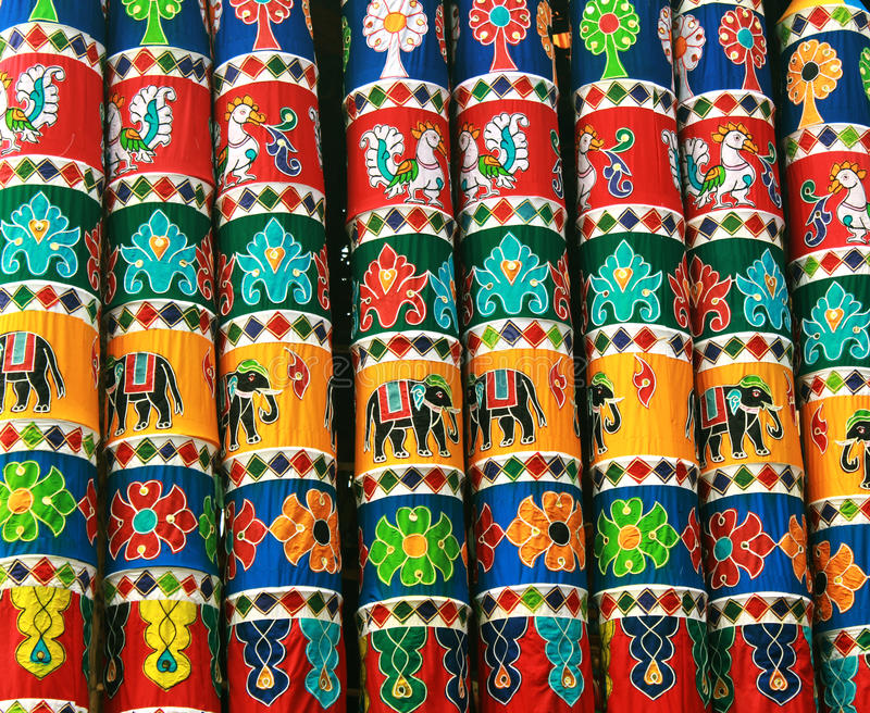 De ornamenten van de rathadoek van het tempelfestival stock foto