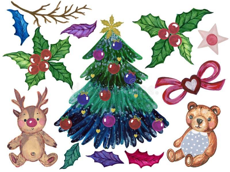 De ornamenten van kerstboomkerstmis van het takken geschilderde verstand royalty-vrije illustratie