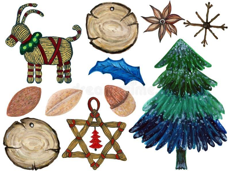 De ornamenten van kerstboomkerstmis van het takken geschilderde verstand vector illustratie