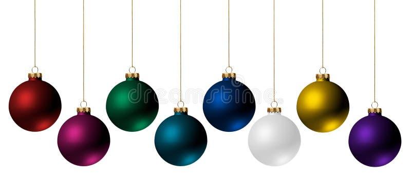 De Ornamenten van Kerstmis die op Wit worden geïsoleerdg royalty-vrije stock afbeeldingen