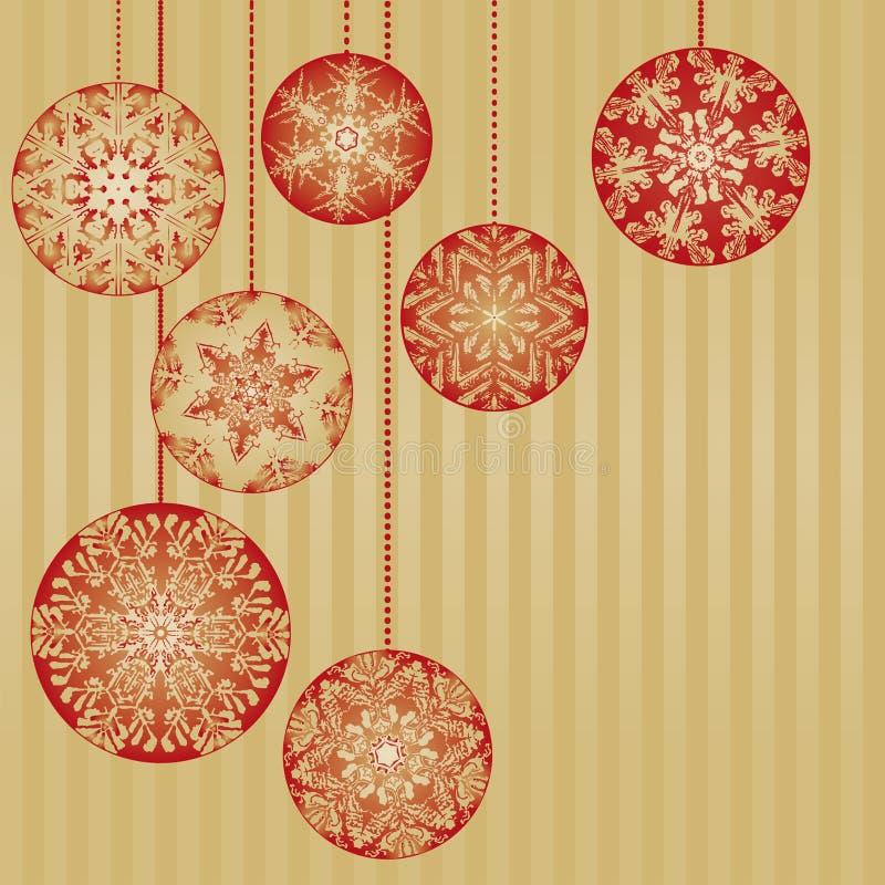 De Ornamenten van Kerstmis op een Gouden Achtergrond stock illustratie