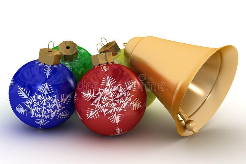 De ornamenten van Kerstmis op een witte achtergrond. stock illustratie