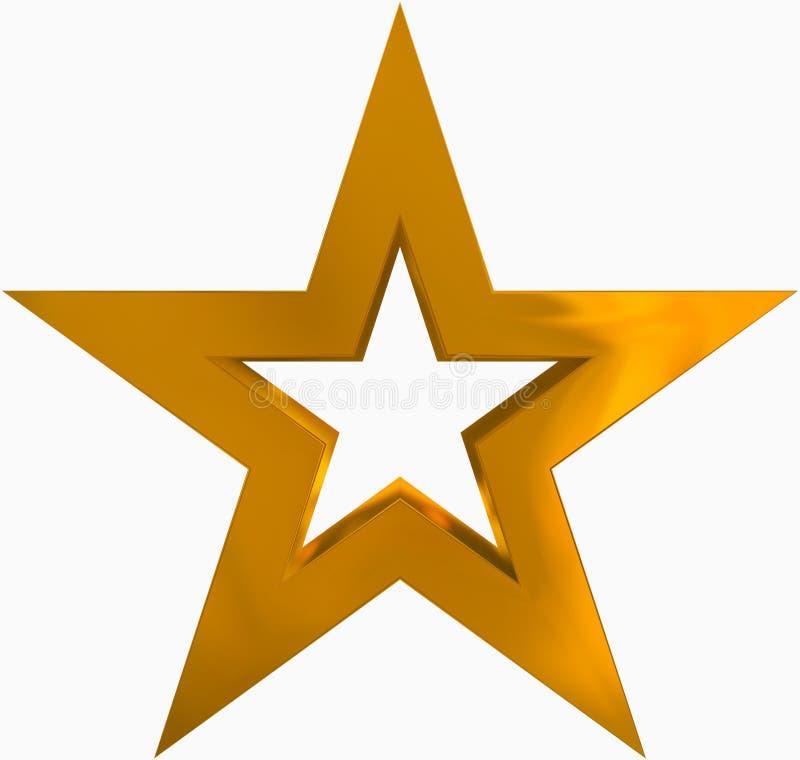 De oro de la estrella de la Navidad - estrella resumida de 5 puntos - aislada en pizca stock de ilustración