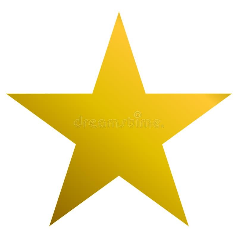De oro de la estrella de la Navidad - estrella simple de 5 puntos - aislada en blanco stock de ilustración